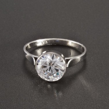 Zásnubní prsten s kulatým zirkonem z bílého zlata 2566 č.1