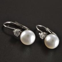 Zlaté náušnice s perlou a brilianty 2650