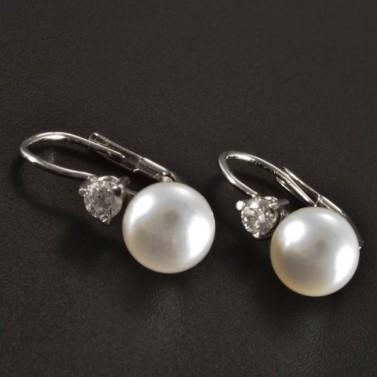 Zlaté náušnice s perlou a brilianty 2650 č.1