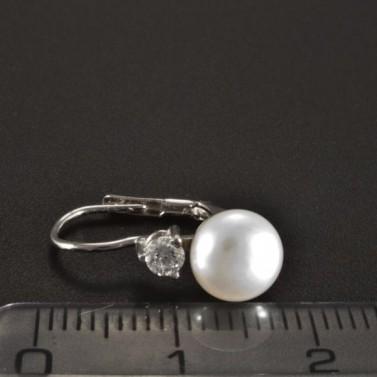 Zlaté náušnice s perlou a brilianty 2650 č.3