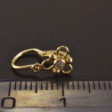 Zlaté dětské náušnice bílé trojlístky 2707 č.3