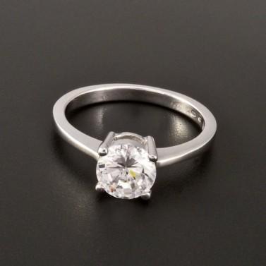 Stříbrný prsten zirkon briliantový brus 2886 č.1