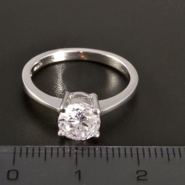 Stříbrný prsten zirkon briliantový brus 2886 č.2