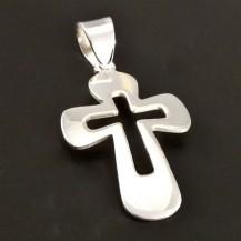 Hladký lesklý stříbrný křížek 2921