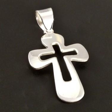 Hladký lesklý stříbrný křížek 2921 č.1