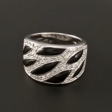Stříbrný prsten zirkony a onyxy 2977 č.1