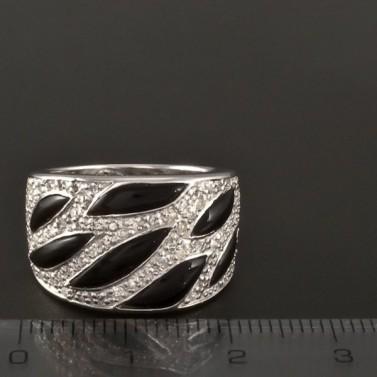 Stříbrný prsten zirkony a onyxy 2977 č.2
