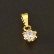 Zlatý menší přívěsek zirkon 3050