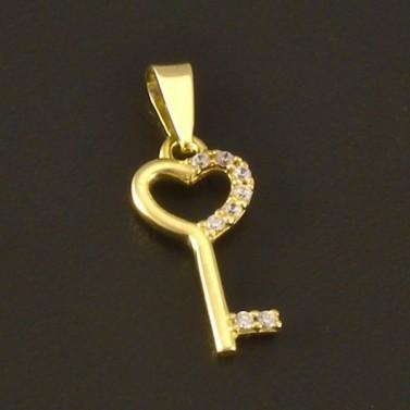 Přívěsek zlatý lesklý klíč 3051 č.1