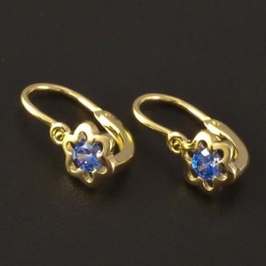 Květy modré zlaté dětské náušnice 3210 č.1