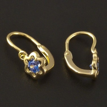 Květy modré zlaté dětské náušnice 3210 č.2