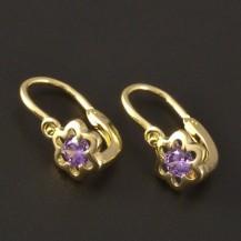 Květy fialové dětské náušnice zlato 3211