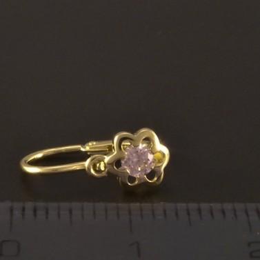 Květy růžové dětské zlaté náušnice 3212 č.3
