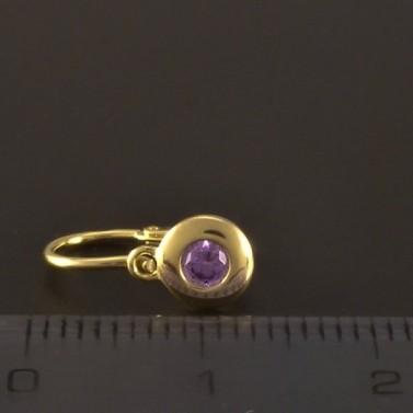 Dětské náušnice zlato zirkon fialový 3216 č.3