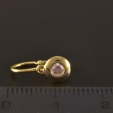 Zlaté náušnice dětské růžový zirkon 3217 č.3