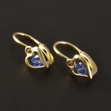 Dětské náušnice zlato modré srdce 3220