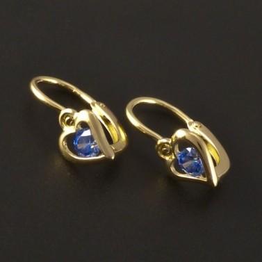 Dětské náušnice zlato modré srdce 3220 č.1