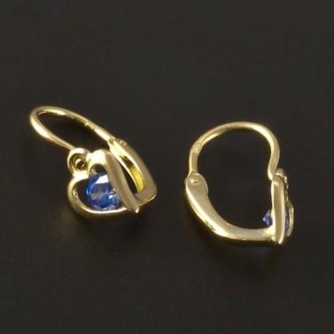 Dětské náušnice zlato modré srdce 3220 č.2