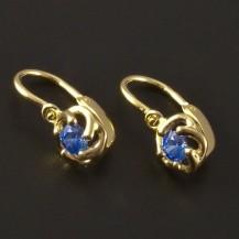 Dětské náušnice zlato modrý květ 3225