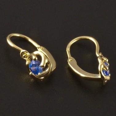 Dětské náušnice zlato modrý květ 3225 č.2