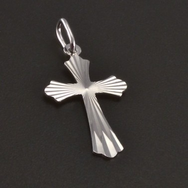 Broušený křížek z bílého zlata 3507 č.1