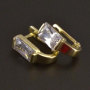 Náušnice zlato zirkon obdélník 3510 č.1