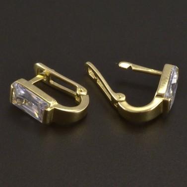 Náušnice zlato zirkon obdélník 3510 č.3
