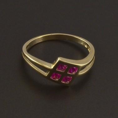 Zlatý prsten s červenými kameny 3512 č.1