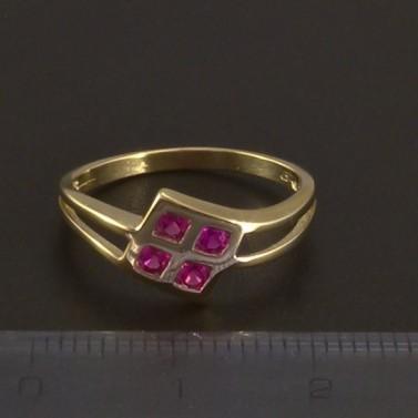 Zlatý prsten s červenými kameny 3512 č.2