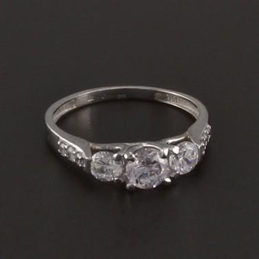 Prsten bílé zlato zdobený zirkony 3527 č.1