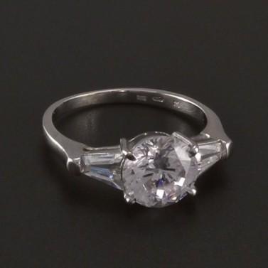 Prsten z bílého zlata s velkým zirkonem 3528 č.1