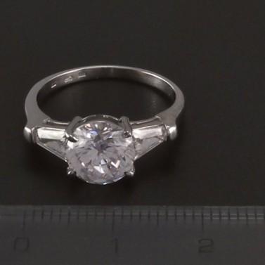 Prsten z bílého zlata s velkým zirkonem 3528 č.2
