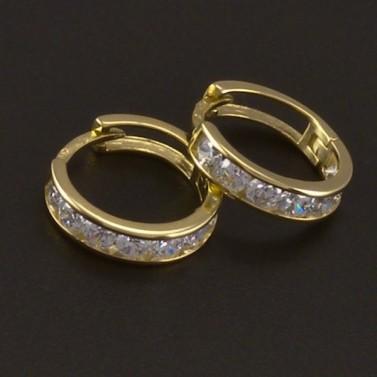 Zlaté kroužky s bílými zirkony 3537 č.1