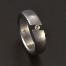 Matný ocelový prsten mezera zirkon 3691