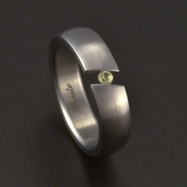 Matný ocelový prsten mezera zirkon 3691 č.1