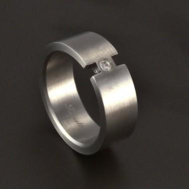 Matný prsten se zirkonem chirurgická ocel 3704 č.1