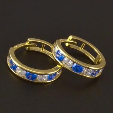 Dětské náušnice zlato modrý a bílý zirkon 3720 č.1