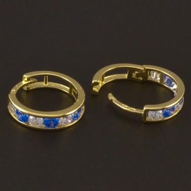 Dětské náušnice zlato modrý a bílý zirkon 3720 č.2
