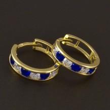 Dětské náušnice zlaté kroužky modrobílé 3722