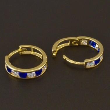 Dětské náušnice zlaté kroužky modrobílé 3722 č.2