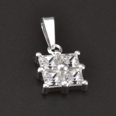Přívěsek stříbro čtvercové zirkony 3770 č.1