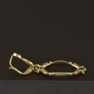 Zlaté náušnice visací zdobené ovály 3779 č.2