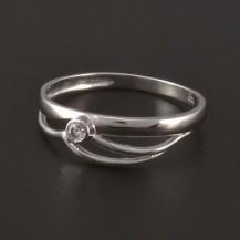 Jednoduchý prsten z lesklého bílého zlata 3820
