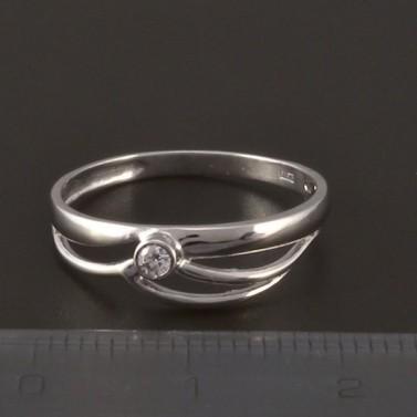 Jednoduchý prsten z lesklého bílého zlata 3820 č.2