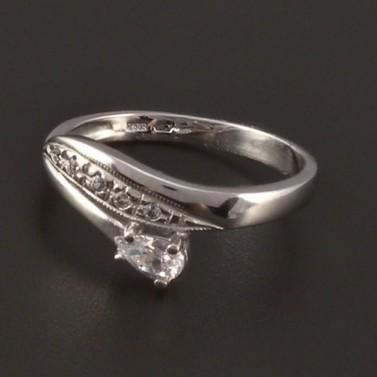 Prsten z bílého zlata zirkon bílé barvy 3821 č.1