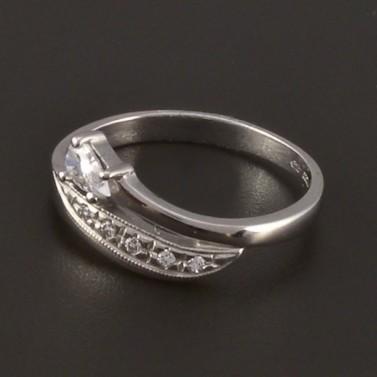 Prsten z bílého zlata zirkon bílé barvy 3821 č.2