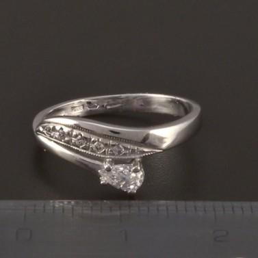 Prsten z bílého zlata zirkon bílé barvy 3821 č.3
