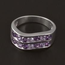 Stříbrný prsten zirkony a ametysty 3853