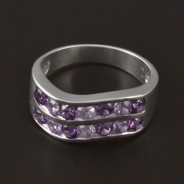 Stříbrný prsten zirkony a ametysty 3853 č.1