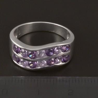 Stříbrný prsten zirkony a ametysty 3853 č.2